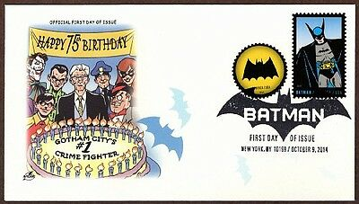 2014 Batman  ~ 4 First Day Covers ~ 8 Postage Stamps - Art Craft Cachet