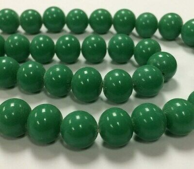 50 VINTAGE JAPANESE 1950's CHERRY BRAND GLASS JADE 12mm. SMOOTH ROUND BEADS 4653