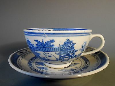 China Chinese Canton Style Landscape Decor Blue & White Cup & Saucer ca. 20th c