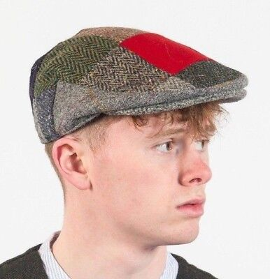 0d9a281c992 IRISH ARAN DONEGAL TWEED FLAT RED PATCH CAP HAT DRIVING PATCHWORK HATMAN  sale
