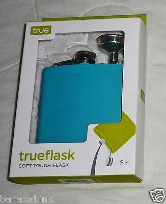 True Fabrications Soft Touch Flask 6 oz Pocket Stainless Steel Funnel Blue