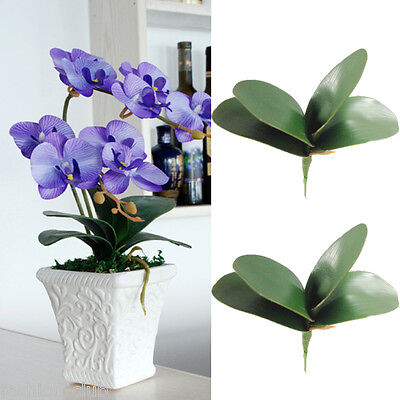 1x Artificial Butterfly Orchid Silk Leaf Fake Flowers Home Wedding Party Decor