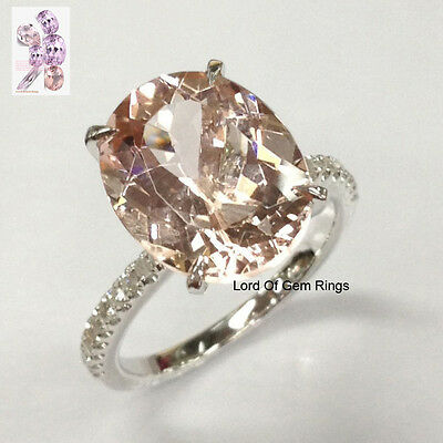 10x12mm Oval Morganite Diamond Engagement Ring in White Gold,Claw Prongs,Wedding