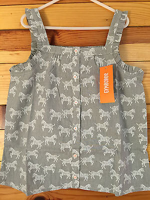 Gymboree NWT Girls Animal Party Coral Zebras Top Size 5 6 7 8 10 /& 12