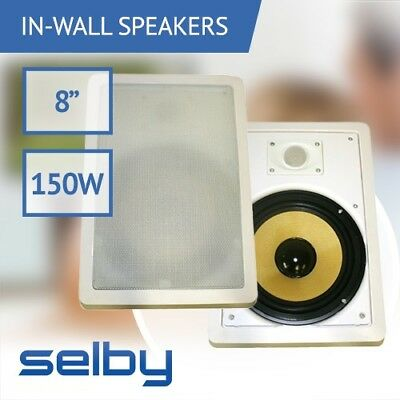 Pair of 8 inch In-Wall In-Ceiling 2-Way Speakers Synthetic Fibre 150 Watts 8 Ohm