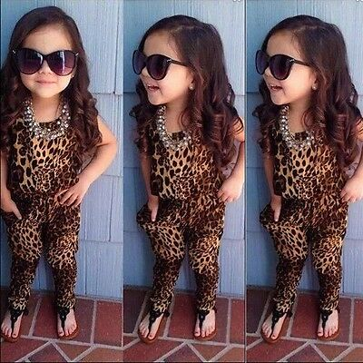 Fashion Kids Girls Leopard Short Sleeve One-piece Romper Jumpsuit Outfits 2-7Y