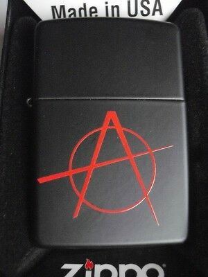 Zippo Anarchy Windproof Lighter Black Gothic Matte Gift Boxed New