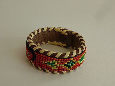 Vintage Southwest Native Handcrafted Orange Seed Bead Leather Snap Bracelet S