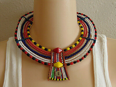 Vintage African MASAI Handcrafted Seed Bead Collar Beaded Necklace