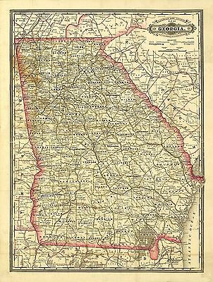1883 Georgia State MAP, City, Towns, Railroads, Historic, Color, Detailed, 20x14
