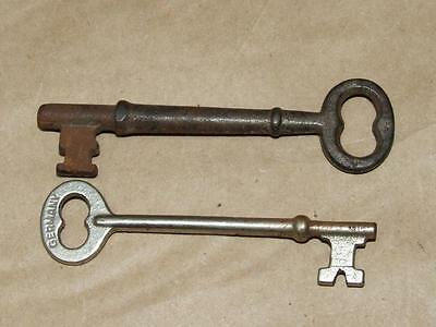 2 Vintage Antique Steampunk Genuine Steel Skeleton Keys One Marked GERMANY