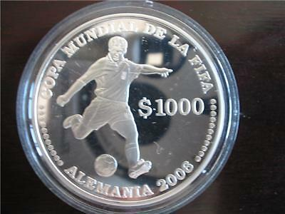 2003 Uruguay Large Silver Proof Soccer Germany $1000