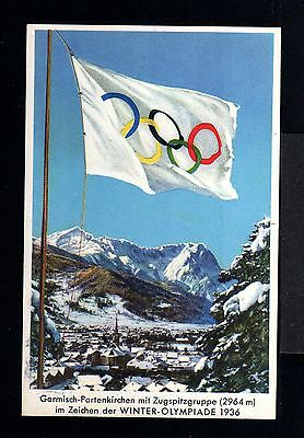9940-GERMAN EMPIRE-Rare OFFICIAL Postcard OLYMPIC Winter GAMES.Garmsich.1936.DR.