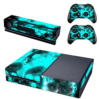 Light Blue Vinyl Sticker Decal Skin for Microsoft Xbox One Console+Controllers
