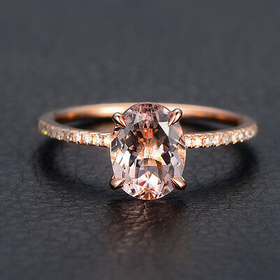 Morganite Diamond Engagement Ring 14K Rose Gold,Oval Cut 6x8mm,Wedding Band