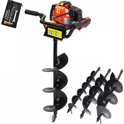 55445 Petrol Earth Auger 52cc Fence Post Hole Borer Ground Drill + 3 Bits