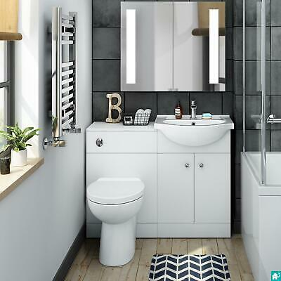 Bathroom Furniture Suite Vanity Unit Cabinet Toilet Basin Back To Wall