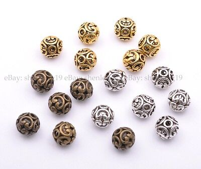 10Pcs Tibetan Silver Round Shaped Heart Hollow Spacer Bead Jewelry Findings 12mm