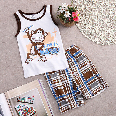 Newborn Toddler Baby Boy Vest Tops Sleeveless T-shirt+Shorts Outfits Set Clothes