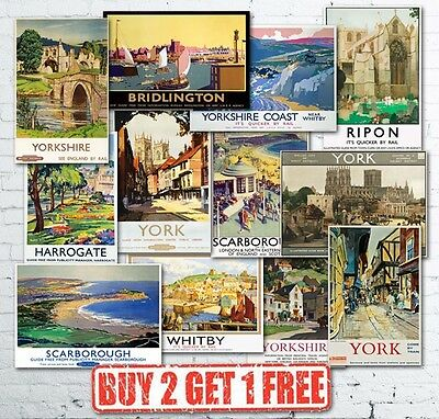 Vintage British Yorkshire Travel Railways LNER GWR LMS Train Posters A5/A4/A3