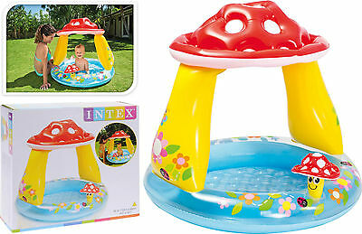 Intex Baby Toddler Inflatable Swimming Paddling Mushroom Sunshade Soft Floor