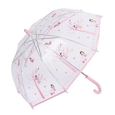 Floss & Rock Fairy Blossom Pink & Clear Dome Kids Umbrella Manual Opening Gift