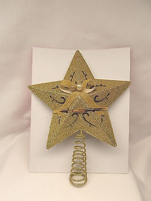 Gold Sparkley Cut-out Star Christmas Tree Topper 8 inch Tall Fits Tree top