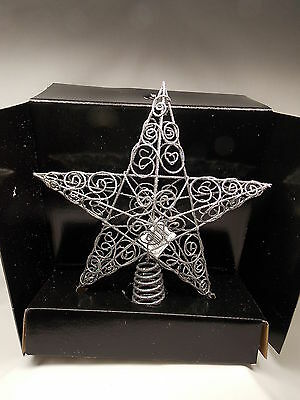 Silver Sparkley Cut-out Star Christmas Tree Topper 10 Inch Across Fits Tree top