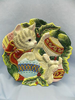 Fitz & Floyd Ceramic Gray Tabby Cat Plate w/Balls & Holly 8 1/2 In Multi-color