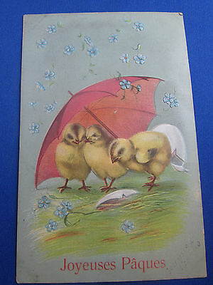 cpa  illustrateur fantaisie poussins parapluie gaufree
