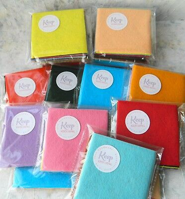 Wool Mix Felt ~ Mixed Colour Packs of 10 or 20 Squares ~ Christmas Craft