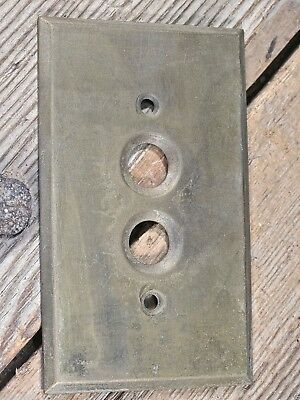 old single Push Button Switch cover Plate vintage solid brass .040 satin