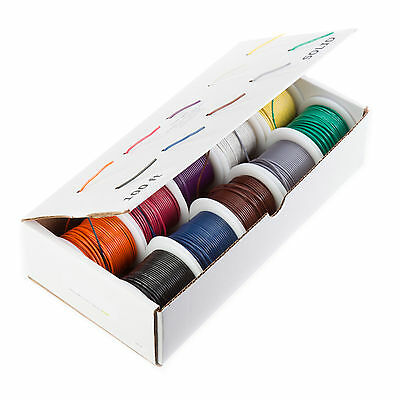 "24 AWG Gauge Solid Hook Up Wire Kit 100 ft Ea 0.0201"" 10 Color UL1007 300 Volt"