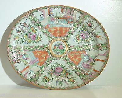 """ANTIQUE CHINESE EARLY 1800's ROSE MEDALLION PLATTER 16"""" LONG MINT CONDITION"""