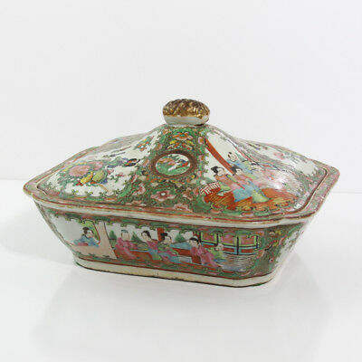 "ANTIQUE CHINESE EARLY 1800's ROSE MEDALLION COVERED SERVING DISH 10"" X 8-13/16"""