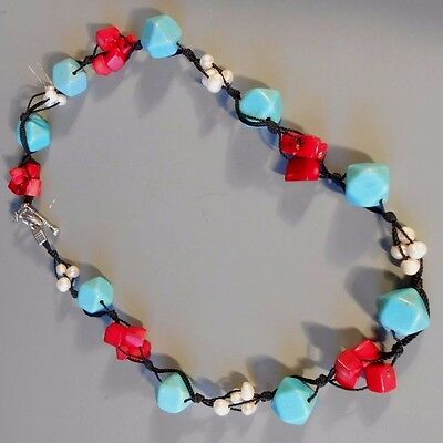 Fine Asian Turquoise Red Coral & Pearl on a silk Cord Necklace ca. 20th century