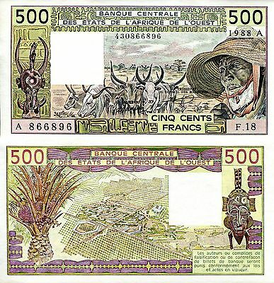 IVORY COAST 500 Francs Banknote World Money aUNC Currency BILL Note p106Aa 1988