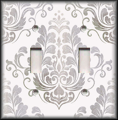 Metal Light Switch Plate Cover - Vintage Damask Decor Grey Silver Shabby Chic