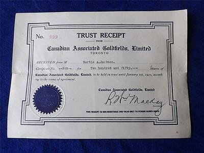 Gold Shares Trust Receipt 1921 Canadian Associated Goldfields Limited No. 999