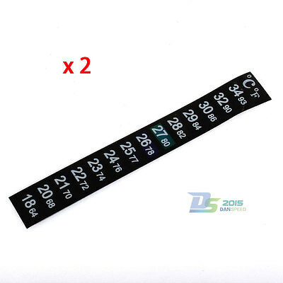 2pcs LCD Stick On Adhesive Strip Flat thermometer Aquarium Fish Tank Brew Window