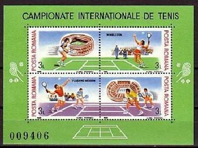Tennis Romania MNH M/S of 4 stamps 1988