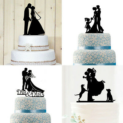New Creative Wedding Party Plastic Decoration Bride & Groom Cake Topper Card UK
