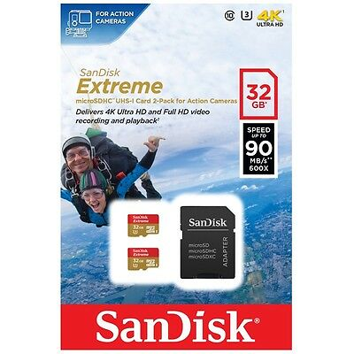 Sandisk 32GB Extreme Micro SD SDHC TF Memory Card 2 Pack Adapter 90MBs Class 10