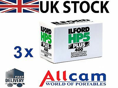 3 Pack: Ilford HP5 Plus 400 35mm 36 Exposure Black & White Negative Film *New