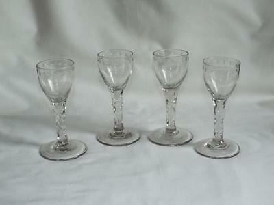 Four antique Georgian facet cut stem wine glasses with oxo borders.c1780.