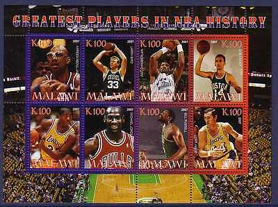 Basketball NBA Greatest Players MNH M/S of 8 stamps