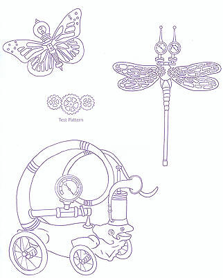 Steampunk Dragonfly Butterfly Inventions ~ Iron-on Embroidery Transfer 23