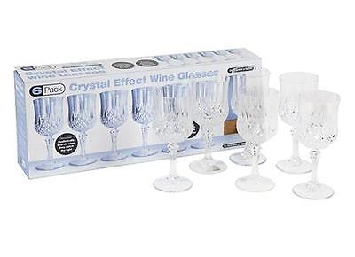 6 Acrylic Plastic Wine Glasses Stylish Crystal Effect for Parties and Weddings