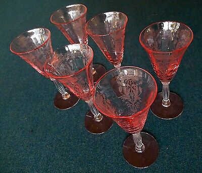 Six (6) TIFFIN Glass FLANDERS  PINK Etched Stems