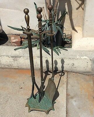 FIREPLACE COMPANION TOOL SET Antique 3 Piece POKER SHOVEL TONGS Cast Brass Stand